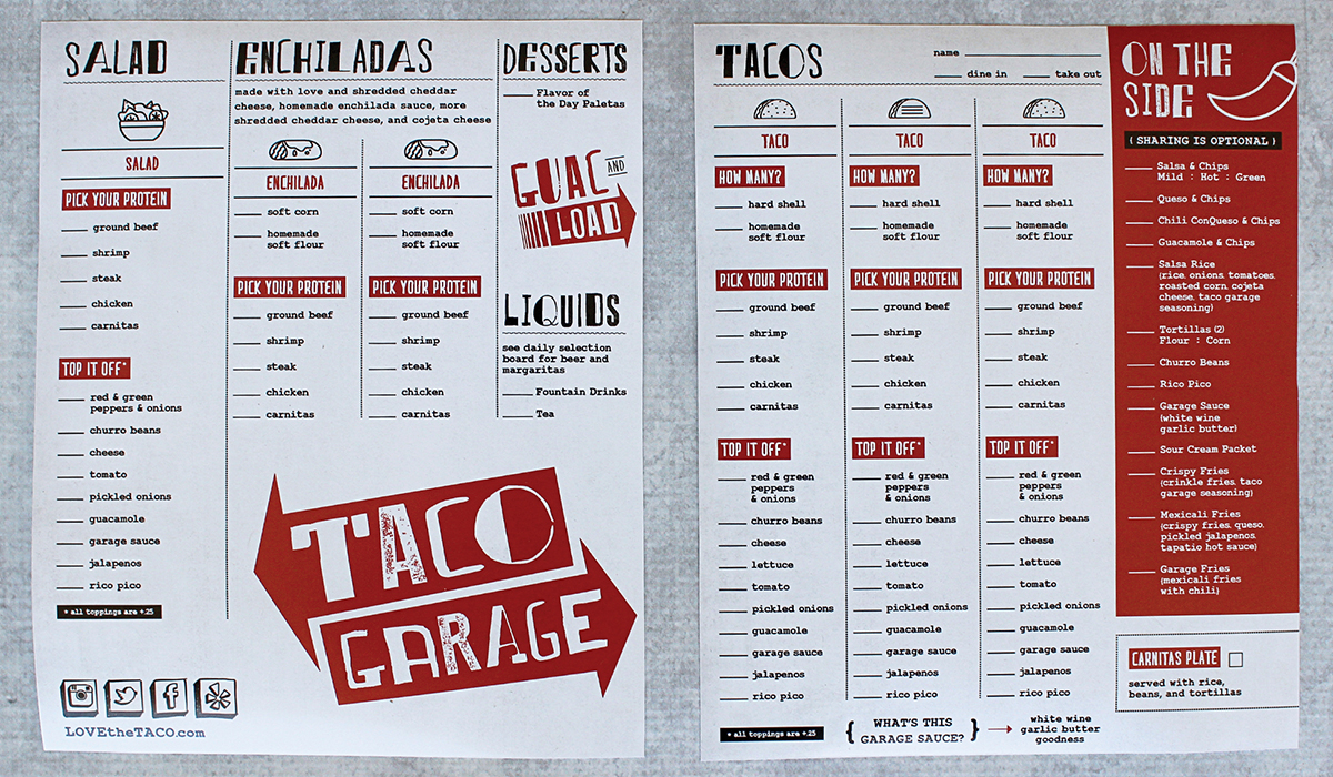 taco restaurant menu design