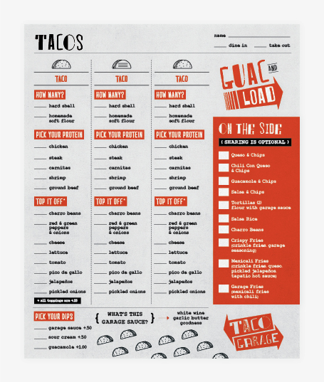 taco restaurant menu