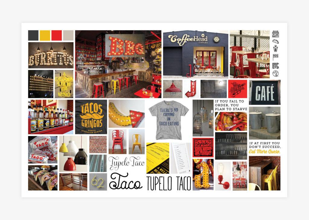 Taco Restaurant brand mood board