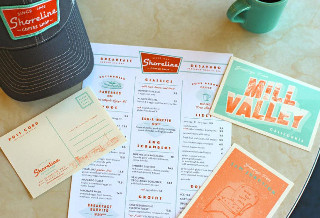 shoreline retro menu graphic design