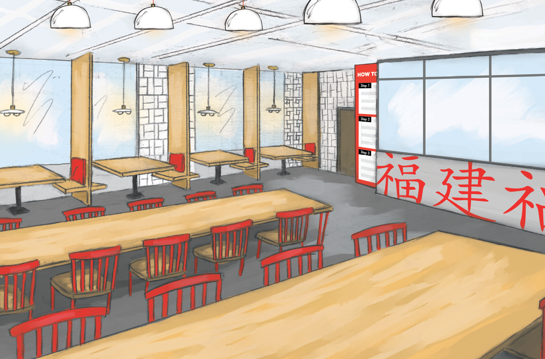 restaurant interior graphic design rendering
