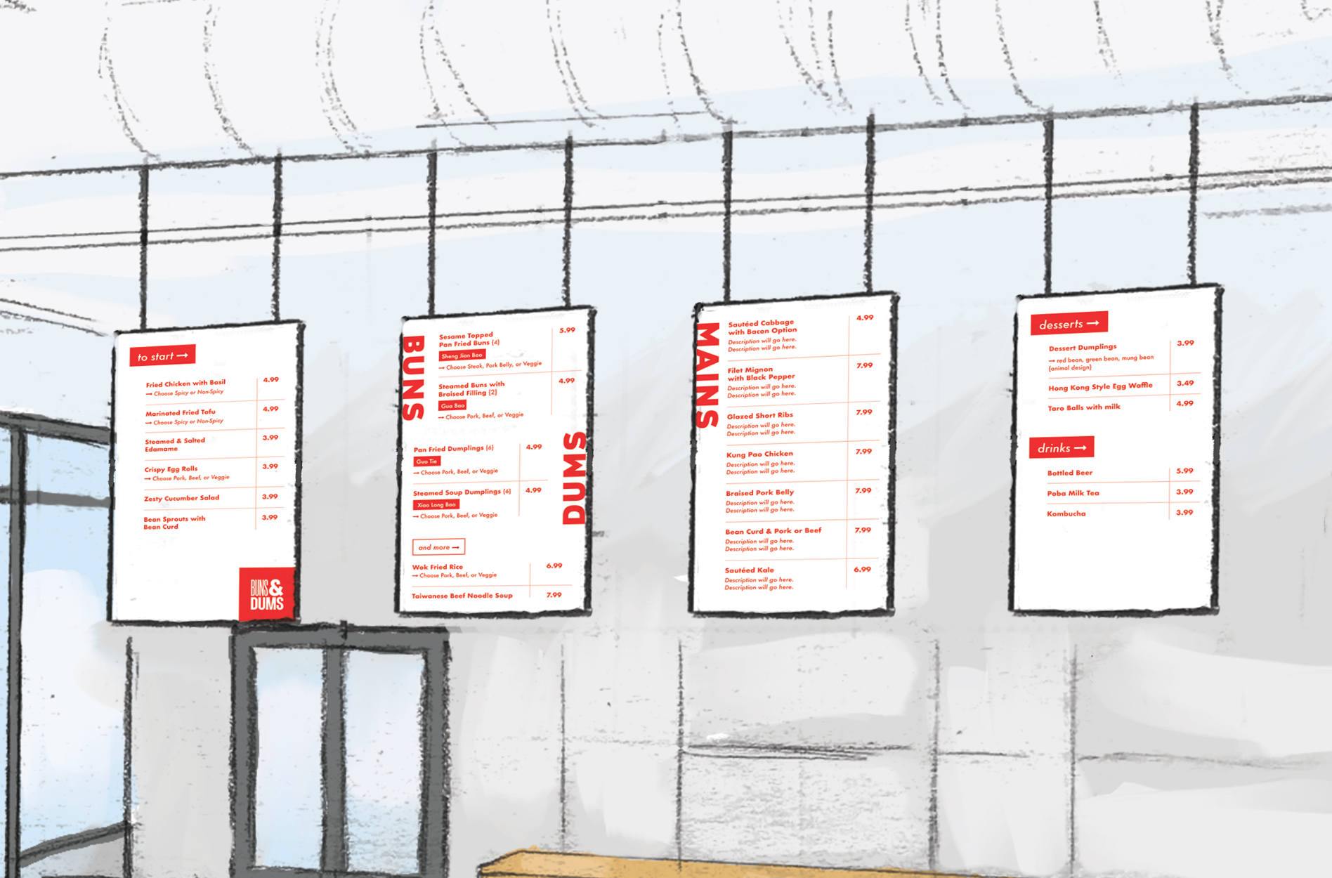 restaurant menu board graphic design