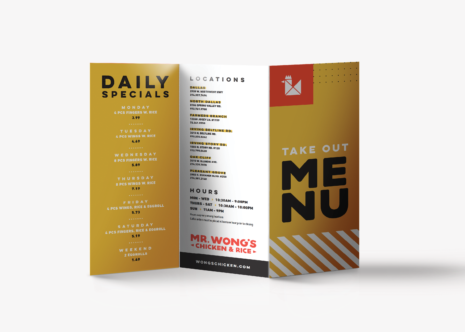 restaurant takeout menu graphic design