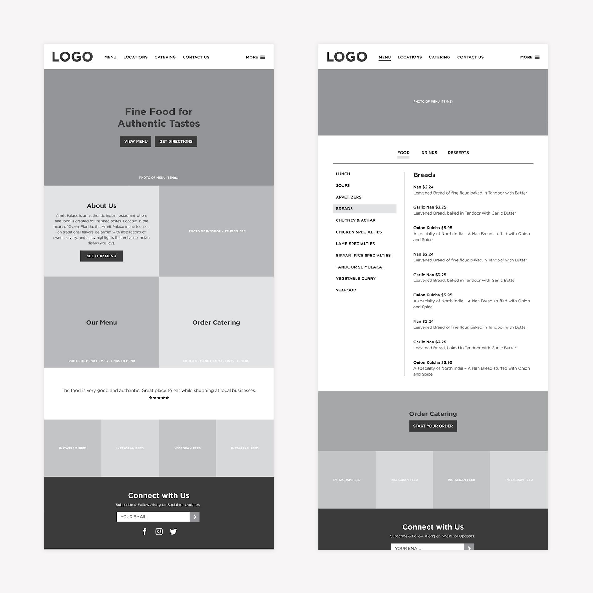 restaurant website wireframe design
