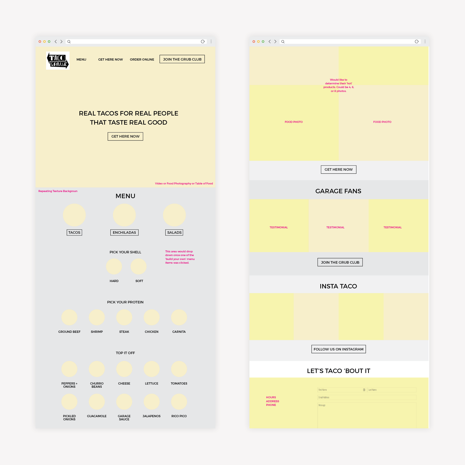 restaurant website wireframe digital design
