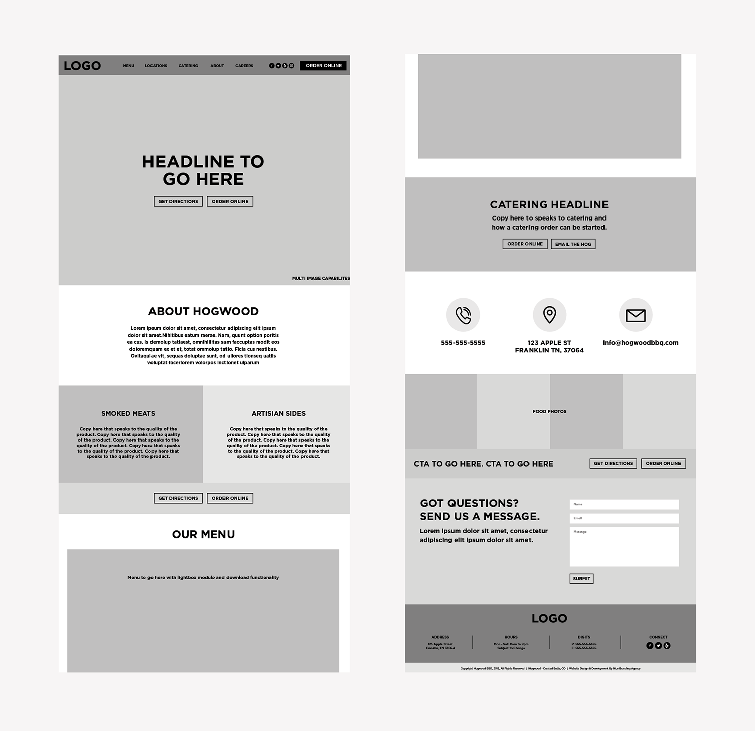 restaurant wireframe design
